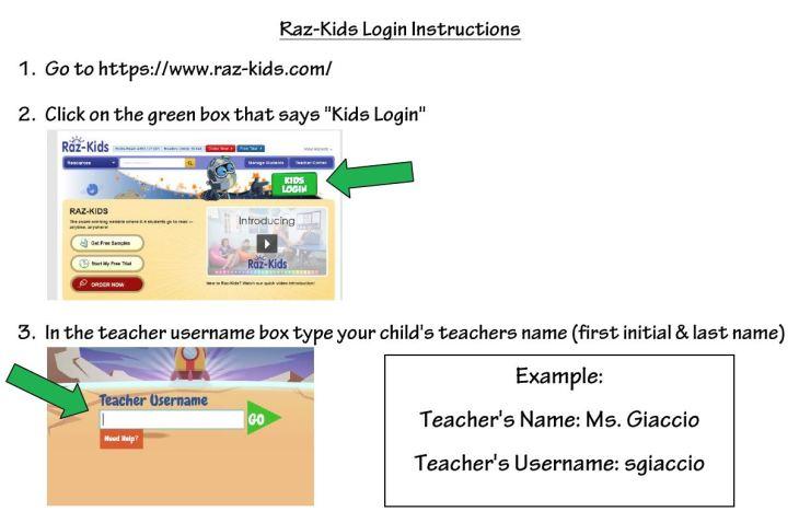 Raz Kids Login Instructions